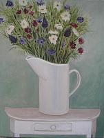 White Pitcher with Flowers